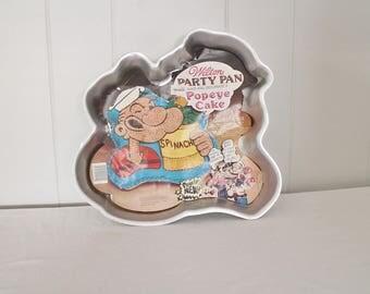 Vintage Popeye Cake Pan - Popeye the Sailor Man - Retro Cake Pan - Vintage Baking Pans - Wilton Pan - Aluminum