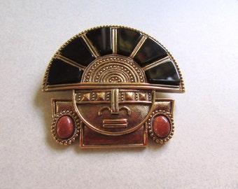 Mayan Tribal Pin Brooch Mexico Vintage Costume Jewelry Onyx Goldstone Genuine Stone Boho