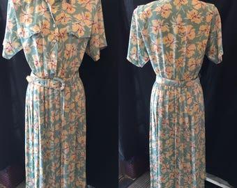 Retro vintage pale Blue floral dress 1980 large medium size 13 14