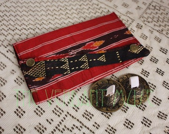 Large Assuit Zil Bag- Red and Black Vintage Ikat Silk and Assiut Tribal or Oriental Bellydance Finger Cymbal Pouch