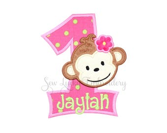 Monkey Birthday Number or Letter Personalized Applique Embroidered Patch, Sew or Iron on