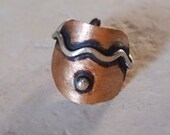 """Ancient Ring, Roman Ring, Archaeology Jewelry,  Mixed Metal, Bronze & Sterling Silver, """" Toprak ( Soil ) """" Collection, Adjustable"""