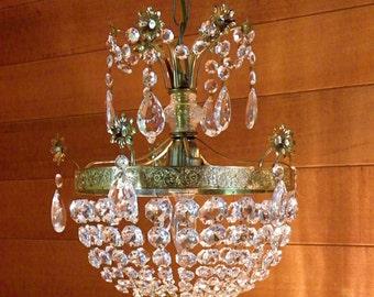 Vintage Chandelier Antique Chandelier Crystal Prisms Ornate 'Basket' Design Floral Motif Wow!