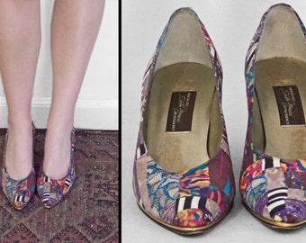 Vintage Sesto Meucci Italian Silk Pumps Rainbow Klimt Heels 7 Narrow