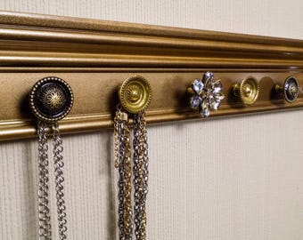 YOU CHOOSE 5,7 or 9 KNOBS Jewelry organizer. This wall necklace hanger in antique gold is vintage inspired Beautiful jewelry storage & decor