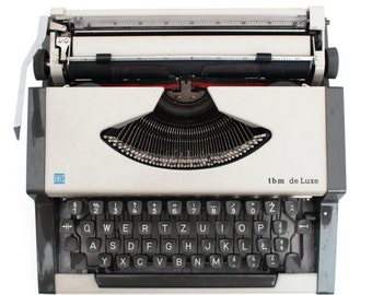 Vintage Typewriter Light Grey Black, Manual Ashen Typewriter, UNIS TBM De luxe Typewriter, 70s, Typewriter, Office Home Decor
