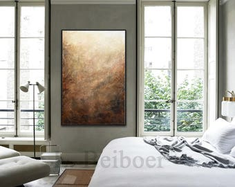 Original abstract acrylic painting textured art palette knife brown modern abstract large painting by L.Beiboer - ready to hang