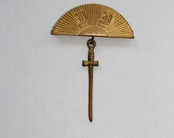 Antique Odd Fellows Lodge Officer Badge Masonic Pin Sword