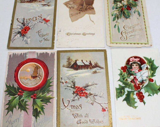 6 Antique Christmas Postcards 1910s
