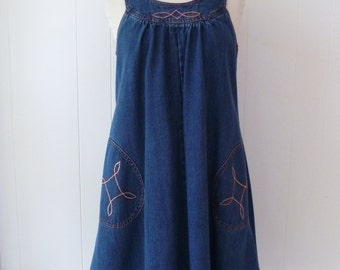 70's Denim A-line Tent Dress Overalls Jeans Pockets Utilitarian Western Hippie Workwear M