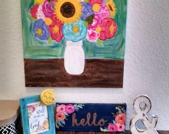 Flowers in mason jar original modern colorful painting 18x24