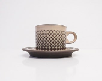 Hornsea Coral Tea/Coffee Cup and Saucer - Vintage Hornsea Coffee/Tea Cup and Saucer - Impressed Graphic Design - 1980's