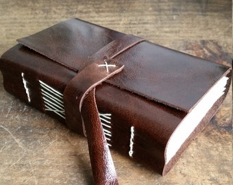 Chunky Leather Journal, Dark Brown Hand-Bound 3 x 4.5 Journal by The Orange Windmill on Etsy 1824