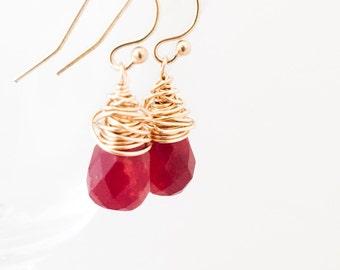 Red Chalcedony Earrings - Wire Wrapped Earrings - Red Gold Earrings - Red Gemstone Earrings - Gold Wire Wrapped Earrings - Valentine Gift