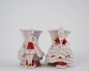Antique Porcelain Victorian Couple Vase Set - Marked 9433 Germany - Wedding Gift Idea