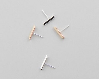 Strait Line Stud Earrings, Bar Silver or Brass Earring, Dainty Minimalist Earrings by Camillettejewelry