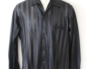 80s Black on Black Satin Sheer Stripe Shirt Long Sleeve Goth Punk Club