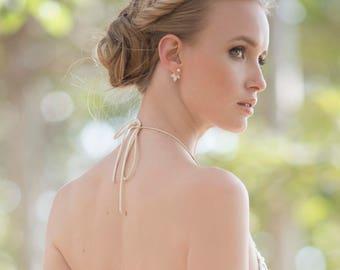 Bridal Ear Jacket, Crystal Earjacket, Gold Ear Jacket Weddings, Bridal Ear Jackets, Geometric Earrings, Stud Earrings, Modern Jewelry
