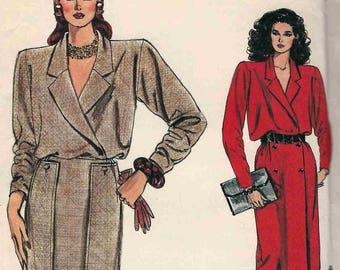Vogue 9100 Ladies dress wrap bodice lapels set in sleeves gathered waist overlay skirt with buttons Size 8-10-12 uncut sewing pattern