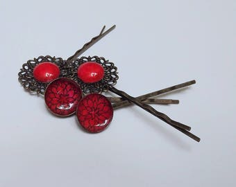Ornate Red hair grips / Bobby pins / hair clips with handpainted red flower design