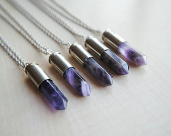 Amethyst Bullet -- Crystal Bullet Necklace -- Stone Bullet -- Boho Chic -- Amethyst Necklace -- Handmade -- Bullet Jewelry - Healing Crystal