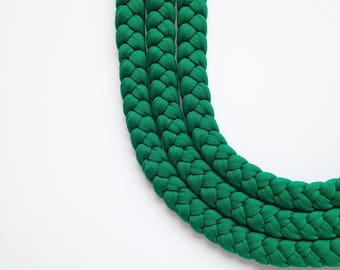 Green necklace, braided choker, statement choker, textile jewellery - The triple braid necklace - handmade in forest green fabric