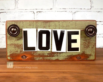 LOVE Shelf Sign, Salvaged Wood Plaque, Olive Green Distressed Paint, Repurposed Vintage Tin Letters, Black and White Characters, Home Decor
