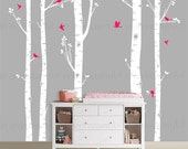 CUSTOM ORDER: 5 Birch Trees with one color leaves plus birds 007