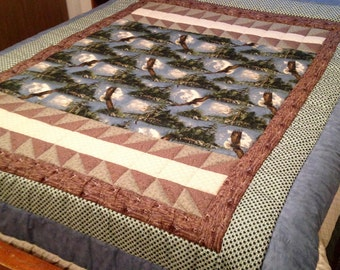 Queen Size Wildlife Quilt, Alaska scenery quilt, Eagle Quilt, outdoor quilt, queen blanket, queen blanket, ready to ship