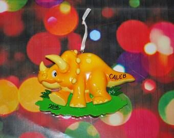 Personalized Orange Dinosaur Christmas Ornament