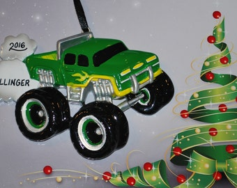 Green Monster Truck Personalized Christmas Ornament