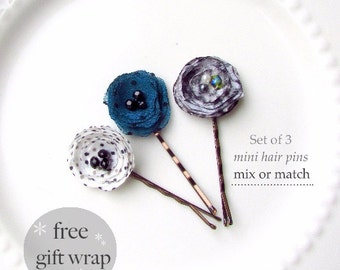 Gift for Her, PICK 3 Decorative hair pins, Small Hair Clips Women Stocking Stuffer, Dot Fabric Bobby Pin Set, Dainty Hairpin, Teen Girl