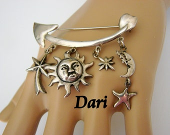 Vintage Dari Designer Signed Silver Pendant Brooch Southwestern Motifs Sun Moon Star Arrow Charms Jewelry