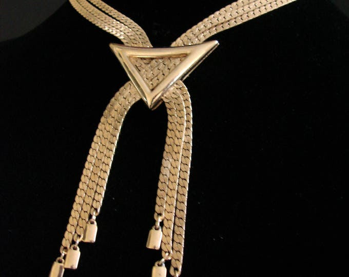 Vintage Monet Tassel Goldtone Necklace / Multi Chain / Snake Chain / Jewelry / Jewellery