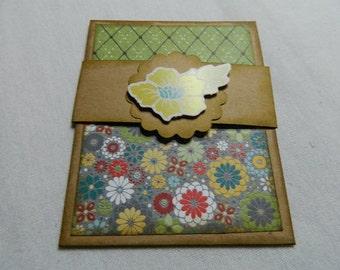 Gift Card Holder kraft card stock with green/print flower