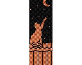 Cat & Moon Peyote Bead Pattern, Bracelet Pattern, Bookmark Pattern, Seed Beading Pattern Miyuki Delica Size 11 Beads - PDF Instant Download