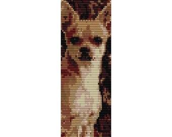 Chihuahua Loom Bead Pattern, Dog Bracelet Pattern, Bookmark Pattern, Seed Beading Pattern Miyuki Delica Size 11 Beads - PDF Instant Download