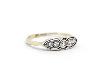 The Art Deco Paisley Ring - 18ct Gold Platinum Diamond Ring