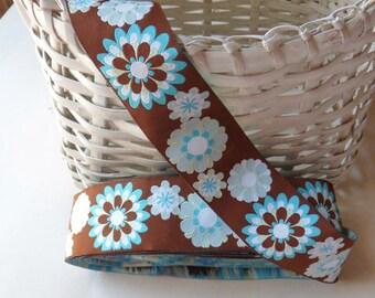 "Retro Mod Brown and Blue Floral Jacquard Ribbon, 9 3/4 Yards Renaissance Ribbon Trim, 1 1/2"" Wide Daisy Ribbon"