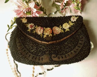Black Hand Beaded NRA Purse, Hand Loop Evening Bag, Embroidered Floral Opera Purse, Handmade Blue Eagle Label Clutch Purse