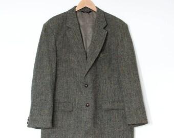 Vintage Harris Tweed Lined Brown Wool Blazer Jacket Retro Men's XLarge 46R