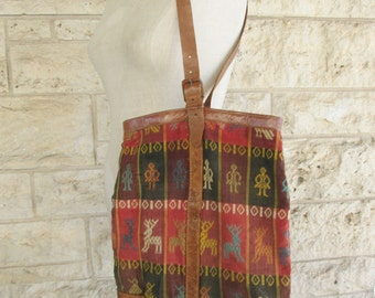 Embroidered Purse Ethnic Leather Guatemalan Purse Woven Boho Purse Guatemalan Ethnic Purse South American Leather Vintage Tote Bag