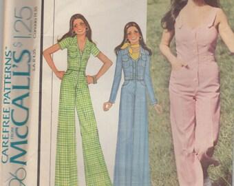 Cute 70s Sleeveless Jumpsuit & Jacket Pattern McCalls 4396 Size 12 Uncut
