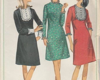 1960s Mini Dress Vintage Pattern Simplicity 6731 Size 16