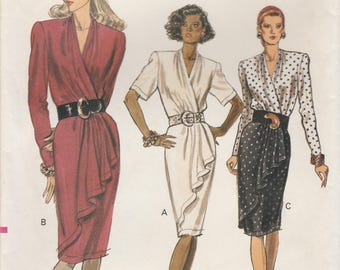 Sophisticated Mock Wrap Dress Pattern Vogue 7558 Sizes 6 - 10 Uncut
