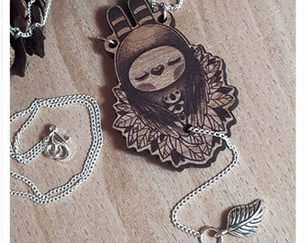 Tweedle-Hoot - NECKLACE JEWELLERY CHARM wooden silver lead guardian owl