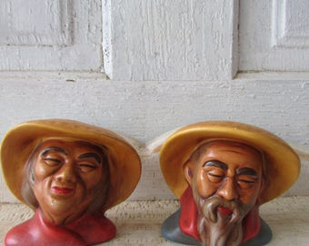 Vintage ceramic set of Chinese couple figurines