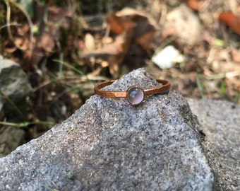 Dark Moon Ring, Moonstone and Fired Copper Ring