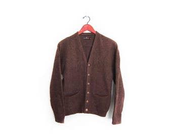 vintage cardigan / grandpa cardigan / grunge / 1960s brown fuzzy wool knit grandpa cardigan Small