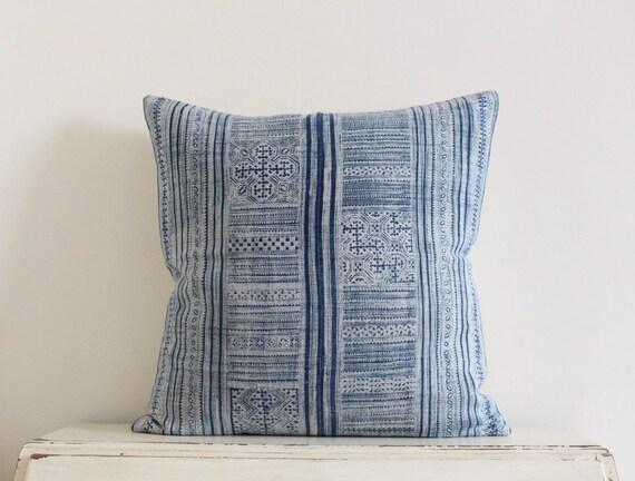 """Vintage Hmong indigo batik pillow cushion cover 22"""" x 22"""""""